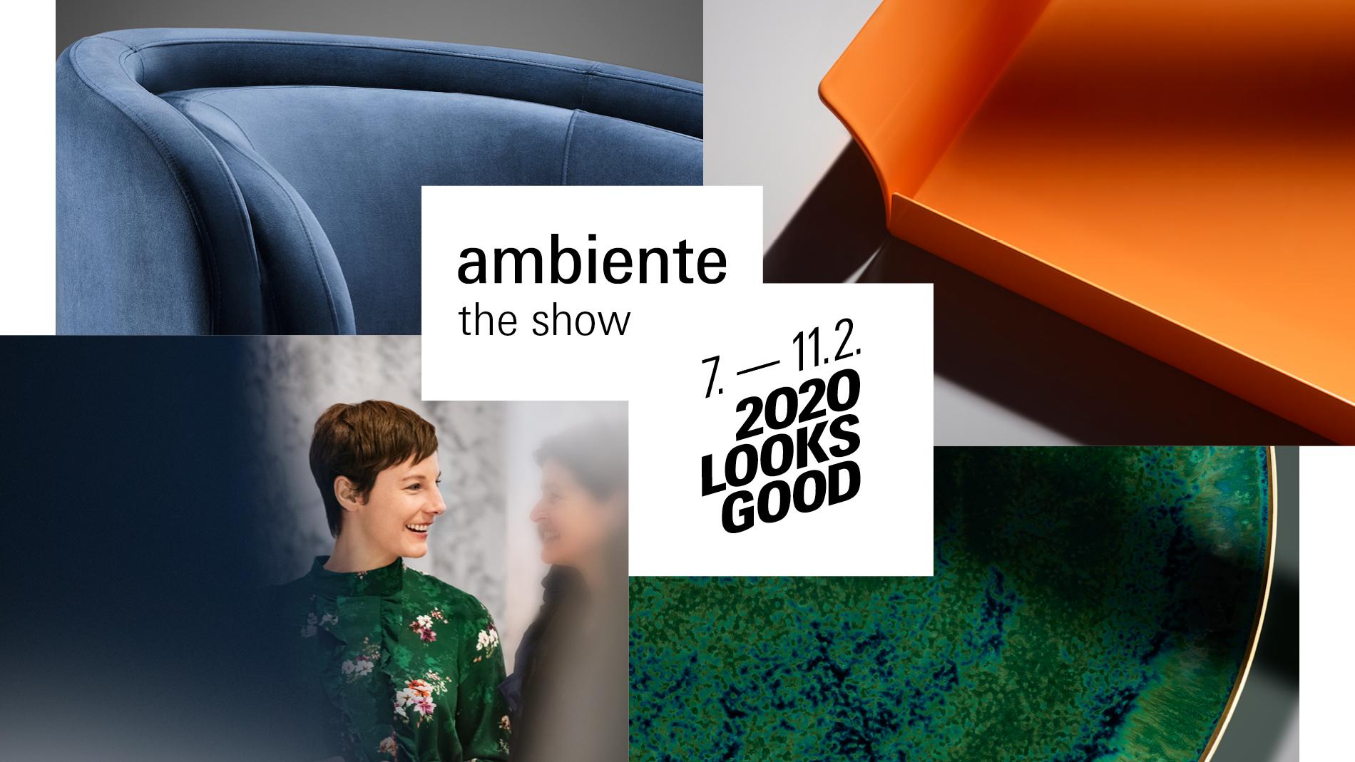 ドイツフランクフルトで開催される展示会「アンビエンテ」の開催を告知する画像です。